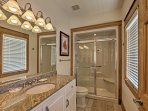 With a spacious walk-in shower, the second bedroom's en-suite bathroom is handicap accessible.