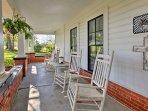 Enjoy a breath of fresh air on one of the numerous porches with outdoor furniture.