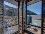 The corner of the living area looks out onto the slopes of Telluride.