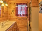 There are 2 bathrooms in the cabin.