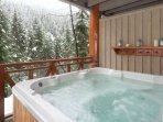 Private hot tub with mountain views