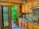 The kitchen offers everything you need. No oven.Lots of cabinet space. Have fun and enjoy.