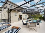 Ample sun loungers and 2 dining tables for alfresco dining for 10 guests