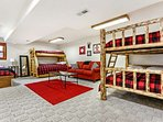 Bunk room, located on lowest level, is furnished with full over full, twin over full plus full trundle and single twin...