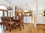 Beautiful wood flooring throughout the main level of the home.