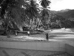Beach-cleaners on Castara beach - the perfect job
