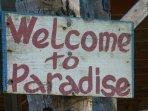 A welcoming sign on Castara beach