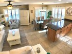 Large open floor plan with light from all around