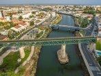Aerial view looking toward downtown Tavira