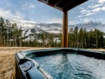 Private hot tub with premium slope views