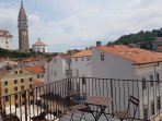 Roof terrace offers outstanding views of Piran and the sea - shared by guests from 3 apartments