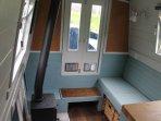 Living area and log stove