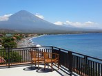 AMED BEACH VILLA rooftop view. Arguably the best view of the sacred Mt.Agung and  Amed coastline.