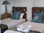 Twin beds in corner room. Bedroom 5.....