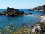 The wonderful 'Isola Bella' Taormina Mare! About km.10 from the Villa!