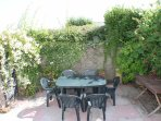 Back patio with garden furniture