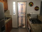Full size refrigerator with freezer, oven, toaster oven, microwave