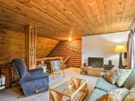 Relax in the loft area and watch a movie on the flat-screen cable TV.
