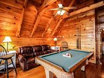 In the loft game area you can enjoy a game of pool with family and friends.