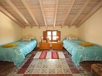 Spacious twin single room. Old Arabic floor tiles.