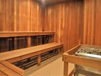 Large sauna in the clubhouse, right by the locker rooms