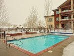 Notice there is no snow on the pool deck