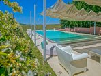 Pool area overlooking Le Marche countryside