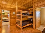 Kids will love setting up camp on this twin-over-twin bunk bed.