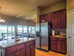 The wall of windows provides spectacular views from the kitchen.