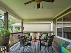The top deck offers plenty of seating, cooling misters, BBQ grill, and purified water.