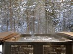 Soothe your achy muscles after a day on the slopes in your own private outdoor hot tub!
