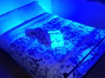 Room painted in blue