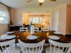 The dining room overlooks the living room.