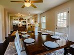 The open floor plan means that that the dining room also overlooks the kitchen.