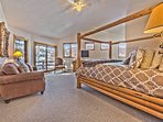 Master Bedroom on Upper Level with a King Bed, Loveseat, Flat Screen TV, Private Deck and Private Bathroom