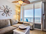 Watch the views of the ocean from its comfy sofa.