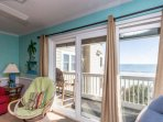Amazing view of the ocean with balcony right off the living room