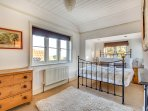 Airy, bright double bedroom with glorious sea views