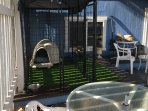Secure kennel w/igloo and artificial grass for your pet. $10 per day - per pet.