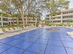 In the summer, the outdoor pool, whirlpool, and hot tub are a fun place to spend an afternoon.