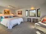 You can push the twin beds together to make a spacious California king bed.