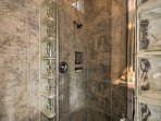 Rinse off in the luxurious walk-in shower.