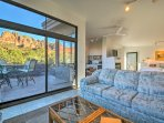 The sliding glass doors open up to the patio.