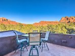 The back patio offers incredible mountain views.