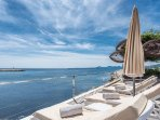 Luxury sun beds with the perfect view.