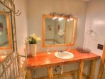Main Bath Sink with Rustic Natural Wood