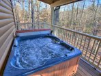 Hot Tub on Back Deck-Covered Hot Tub Overlooking Creek Below