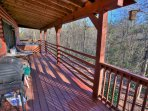 Covered Back Deck with Seating, Grill and Hot Tub