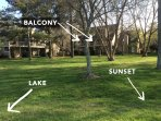 Sunset view of lake and extensive grounds for walking, biking, fishing, frizbee, bocce, picnics and other activities