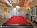 A full size pool table is a great way to have fun and games with the whole family.